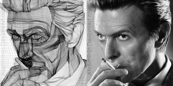 David Bowie, gradient mesh